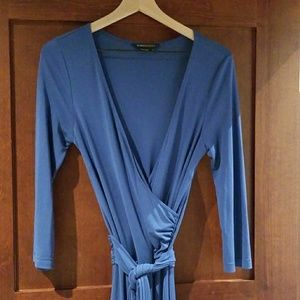 BCBGMaxAzria Blue faux wrap dress